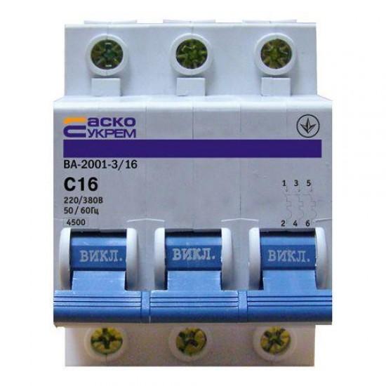 Автоматический выключатель ВА 2001 3п 16А