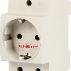 Розетка на DIN-рейку e.socket.pro.din.tms, 230 В, с з/к