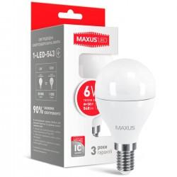 Лампа G45 6W 3000K E14 220V 1-LED-543