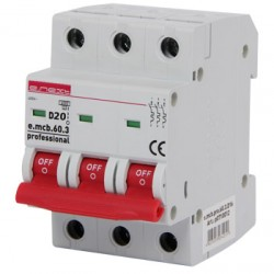 Автоматический выключатель e.mcb.pro.60.3.D.20, 3р, 20А, D, 6кА