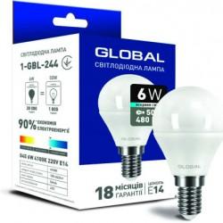 Лампа G45 6W 4100K Е14 1-GBL-244