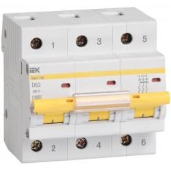 Автоматический выключатель IEK ВА 47-100 3п D 100А