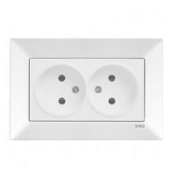Розетка VIKO Meridian белая 2-я без заземления (90970055)