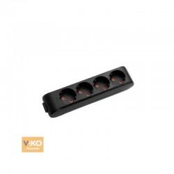 Колодка VIKO Multi-Let на 4 гнезда с заземлением черная (90134400)