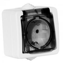 Розетка 1-я дымчатая крышка с заземлением Schuko Aquatic 16A IP44