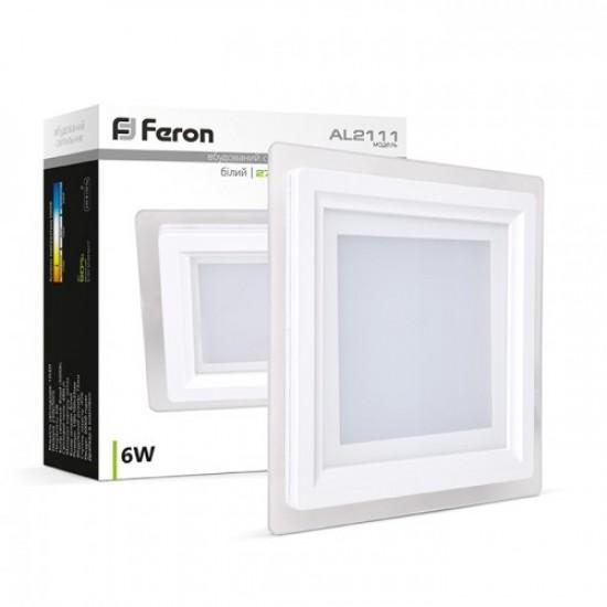 Светодиодный светильник встраиваемый (квадратный) Feron AL2111 6W 480Lm 5000K