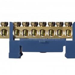 Нулевая шина АСКО-УКРЕМ BC-510 6×9 мм 10 отв. с изолятором на DIN-рейку