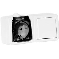 Выключатель Aquatic 1 клавишный 10A + Розетка 1-я с з/з 16A дымчатая крышка белая