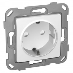 Розетка 1-я PLANK Classic с заземлением белая (PLK0521031)