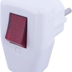 Вилка бытовая e.plug.angle.009.16, с заземлением, 16А, угловая, белая, с выключателем