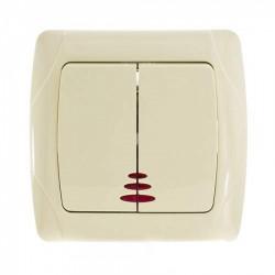 Выключатель двухклавишный с подсветкой VIKO Carmen крем (90562050)